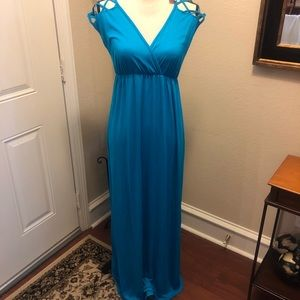 Pink Blush Maternity Maxi Dress Blue Size S NWT!